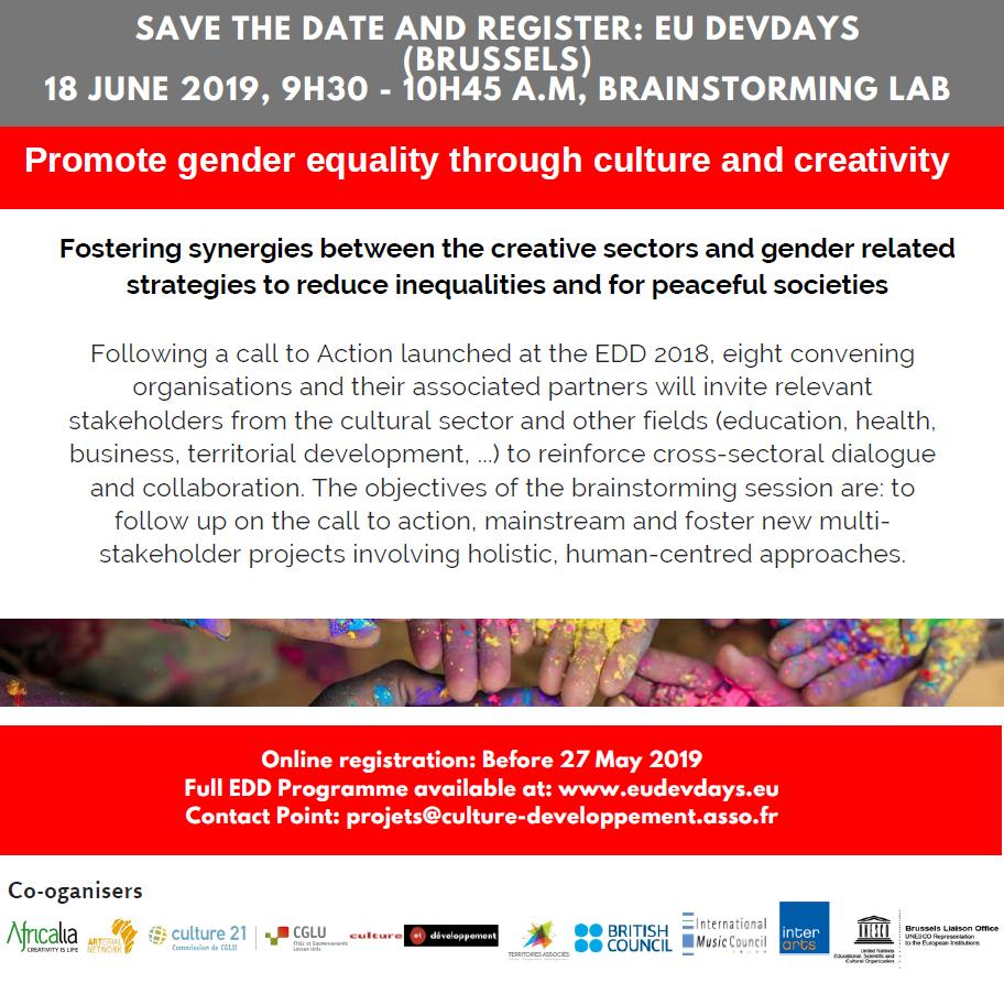 Interested in gender equality and culture ? Register to this brainstorming session during the European Development Days before Monday: https://eudevdays.eu/community/sessions/2775/promoting-gender-equality-through-culture-and-creativity … #EDD2019