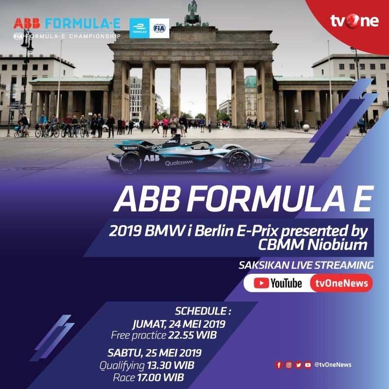 ABB FORMULA E 2019 BMWi Berlin E-Prix presented by CBMM Niobium. Saksikan di LIVE Streaming Youtube tvOneNews 24 & 25 Mei 2019.Schedule:Jumat, 24 Mei 2019- Free practice : 22.55 WIBSabtu, 25 Mei 2019- Qualifying : 13.30 WIB- Race : 17.00 WIB#ABBFormulaE #tvOneSports
