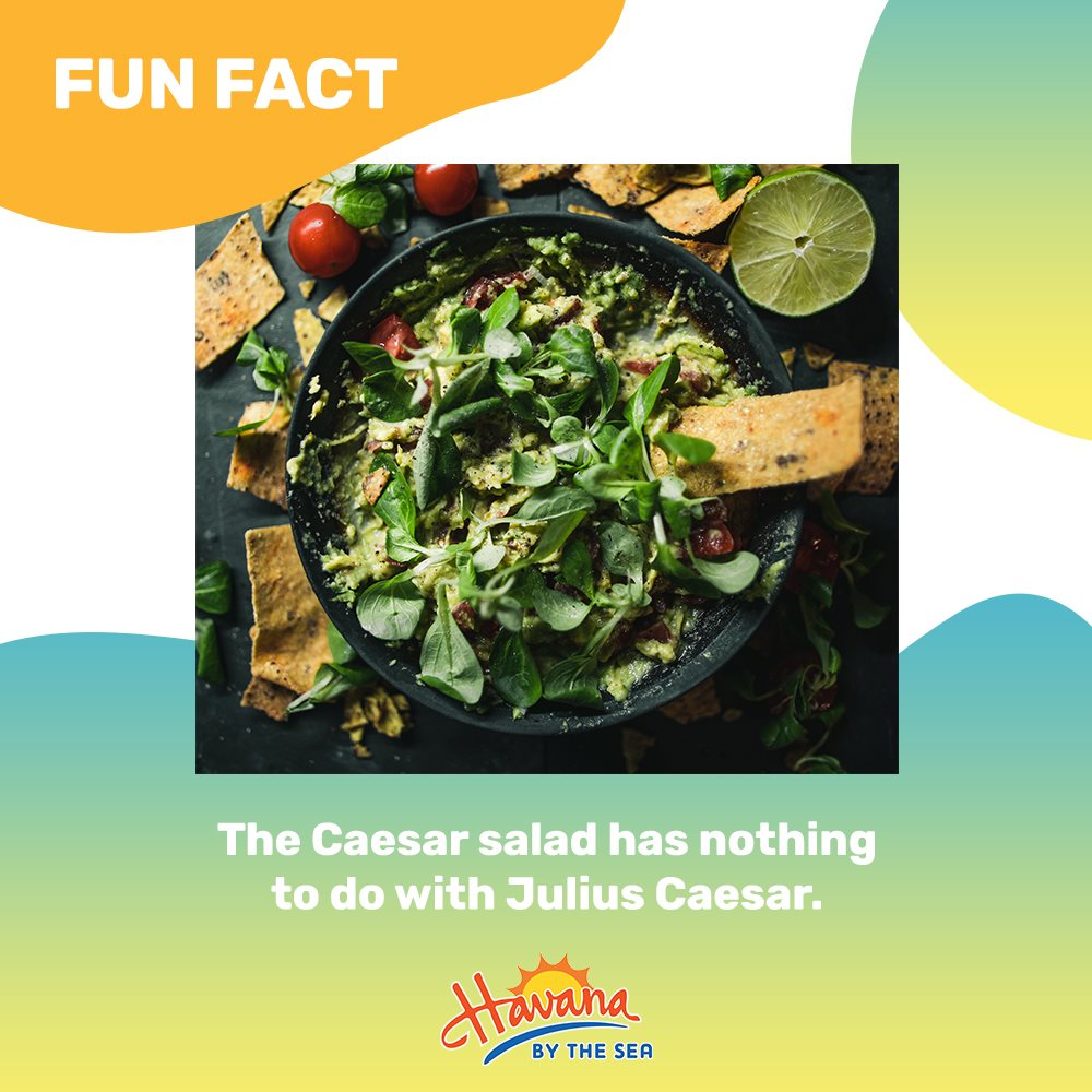 This salad favorite was actually named by a chef named Caesar Cardini in Tijuana, Mexico in 1924. Don't you just want to enjoy these greens while relaxing by the sea?  #eatdrinkdance https://t.co/4l0Z5Lobh7