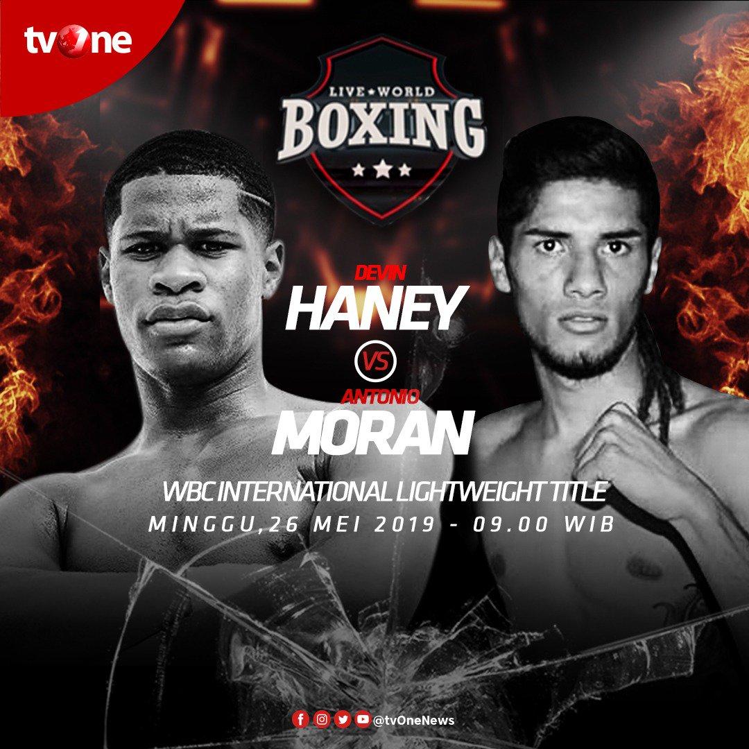 Jangan lewatkan Live World Boxing: WBC International Lightweight Title antara Devin Haney vs Antonio Moran. Minggu, 26 Mei 2019 jam 09.00 WIB di tvOne & streaming di tvOne Connect http://bit.ly/2CMmL5z. #tvOneSports