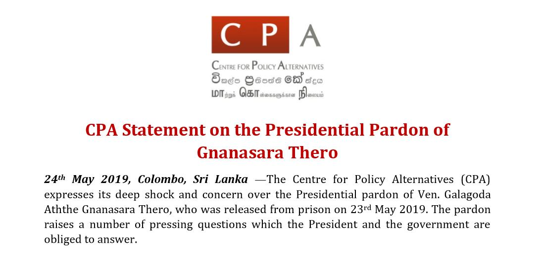 CPA Statement on the Presidential Pardon of Gnanasara Thero