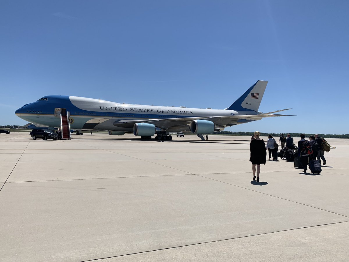 Fellow @WhiteHouse media poolers boarding Air Force One for our long flight to #Japan. – at Joint Base Andrews