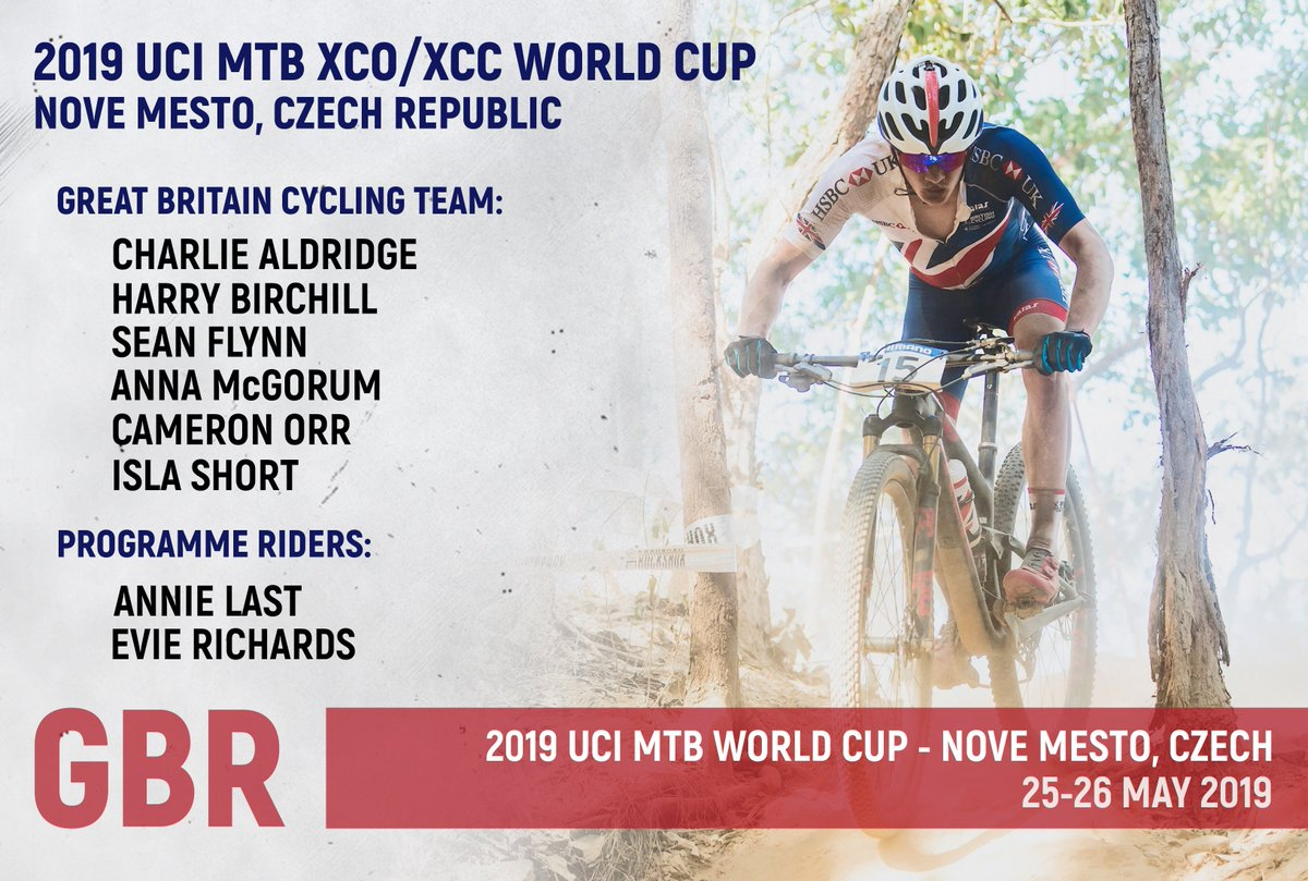 The Great Britain Cycling Team 🇬🇧 will be well represented at the @UCI_MTB World Cup in the Czech Republic 🙌  Check out the team and programme riders competing in Nove Mesto ⬇️