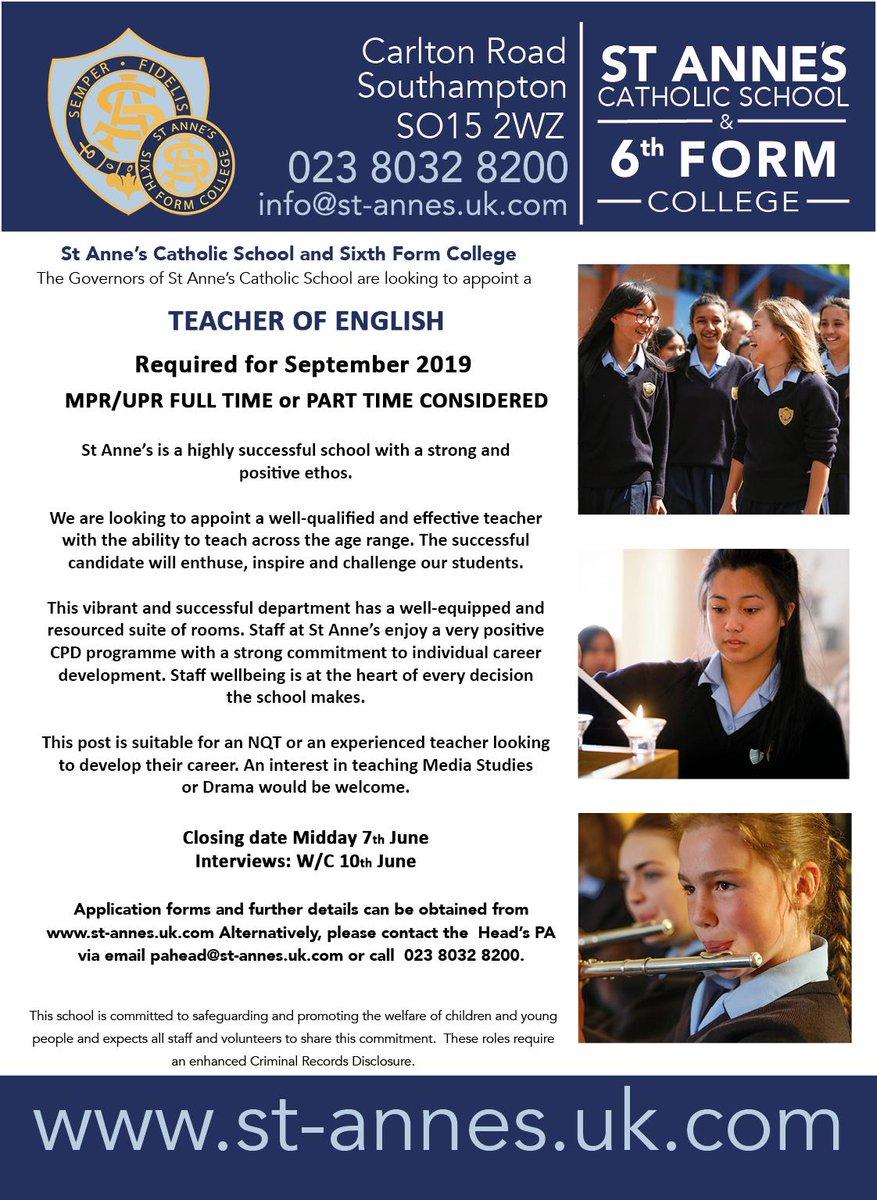 #TeachingVacancyUK English SouthEast Apply now: https://t.co/znsael7rtJ By: Friday 7 June For: September 2019  Join our fabulous English team in Southampton! #TeamEnglish