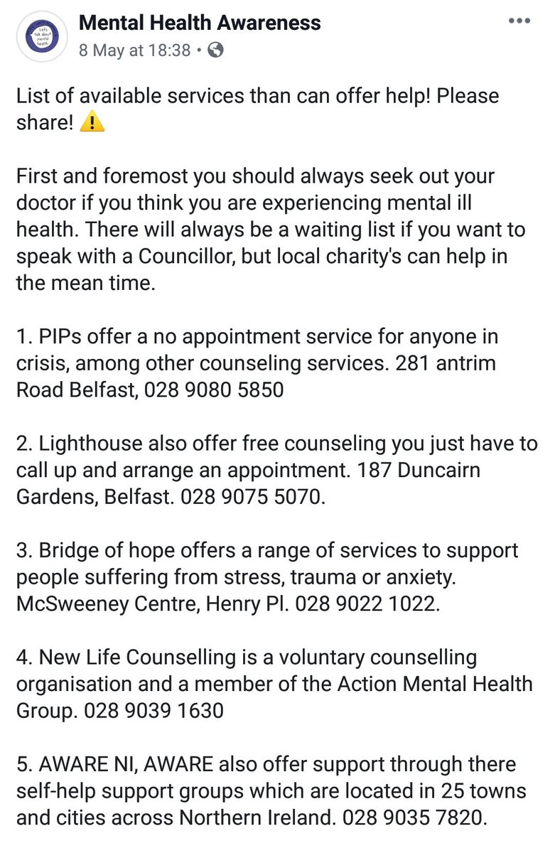 We put a list together of mental health charitys that can offer you help. We will be updating this list weekly and resharing it.  Much appreciated if you could all share this💙