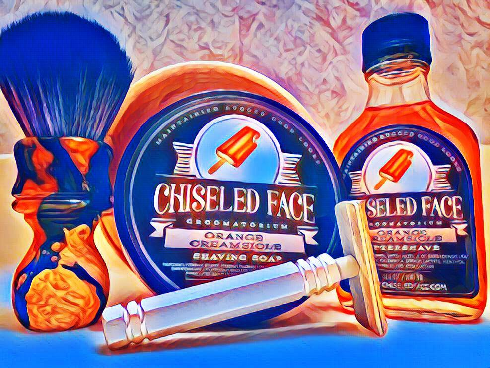 "#FrigidFriday #PremiereSOTD #NewToMe with ""Orange Creamsicle"" Shaving Soap & Aftershave by @chiseledface ~ Bowl by Colorado Razor Designs ~ Deranged Donkey brush by @WCShaving ~ SE Razor by Mongoose #WetShaving"