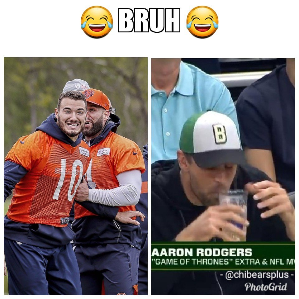 #Bears #dabears #beardown #trubisky #rodgers #beer  #packers &quot;Bruh did you see Aaron try to chug a beer?&quot;<br>http://pic.twitter.com/XzTNnYNBPU