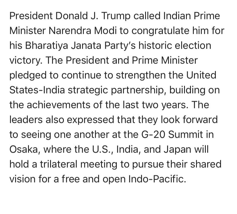 Update: @POTUS has called @narendramodi to congratulate him on victory in #IndiaElection2019, according to @hogangidley45.
