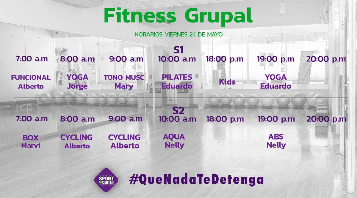✅Consulta los horarios de las clases de #FitnessGrupal para el día de hoy #QueNadaTeDetenga🏅. #SportCenterMérida📍