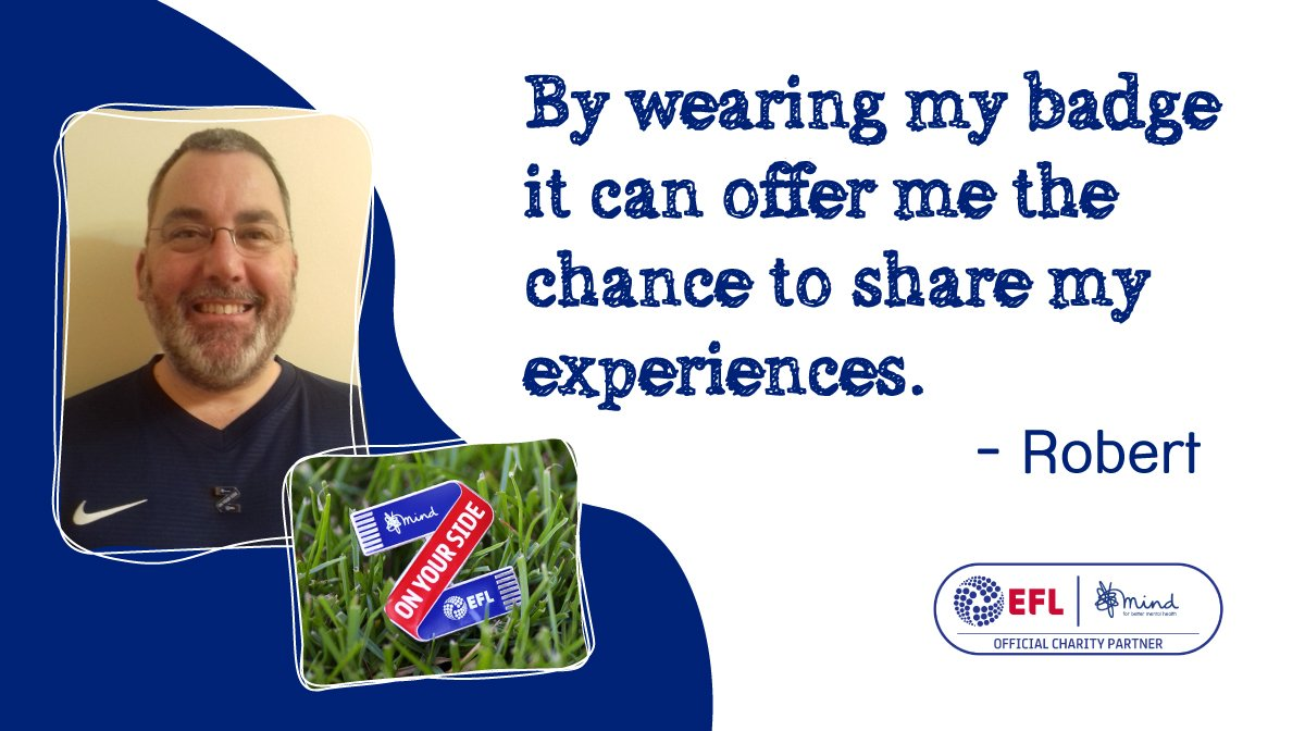 We're proud to have joined forces with the @EFL to use the power of football to improve the nation's mental health.  Southend fan Robert blogs about wearing his #OnYourSide pin badge ahead of the play-off finals at Wembley this weekend > https://bit.ly/2JBOme4