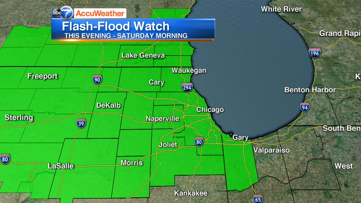 FLASH-FLOOD WATCH this evening thru Saturday morning.  Storms this evening may bring additional heavy rain which may fall at 1-2&quot; per hour.  #Chicago<br>http://pic.twitter.com/Q8bO5FosPo