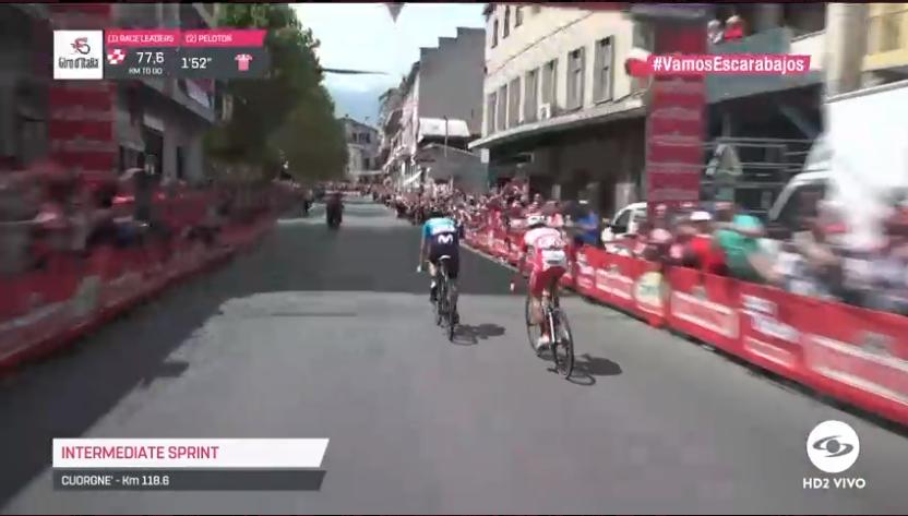 #VamosEscarabajos José Joaquín Rojas ganó el esprint intermedio en Cuorgnè. Vea la etapa 13 del Giro de Italia EN VIVO >>> http://elgiroporcaracol.com
