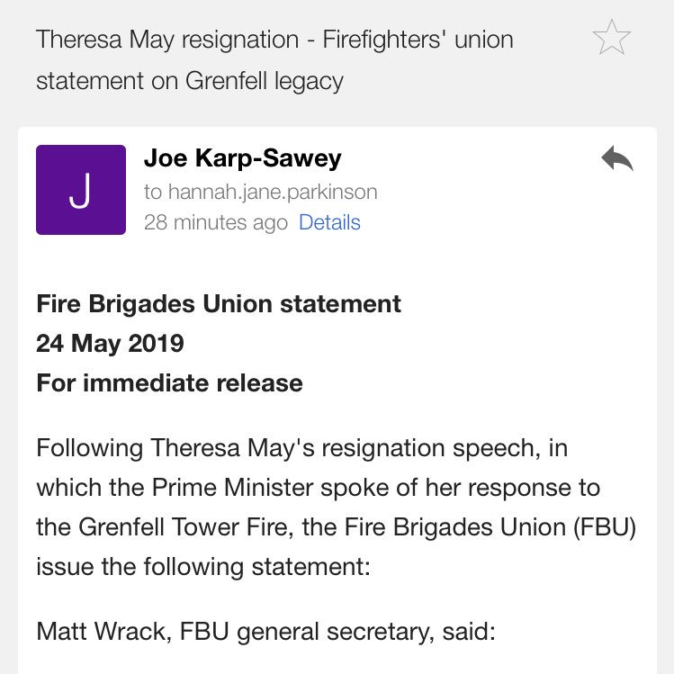 RT @ladyhaja: statement from the Fire Brigades Union on Theresa May and Grenfell. No further comment necessary. https://t.co/3a4yEAaqMJ