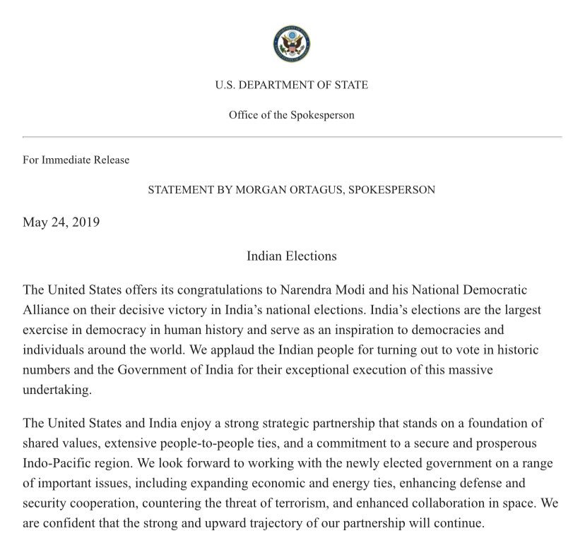 "US ""offers its congratulations to Narendra Modi and his National Democratic Alliance on their decisive victory in India's national elections,"" says @statedeptspox."
