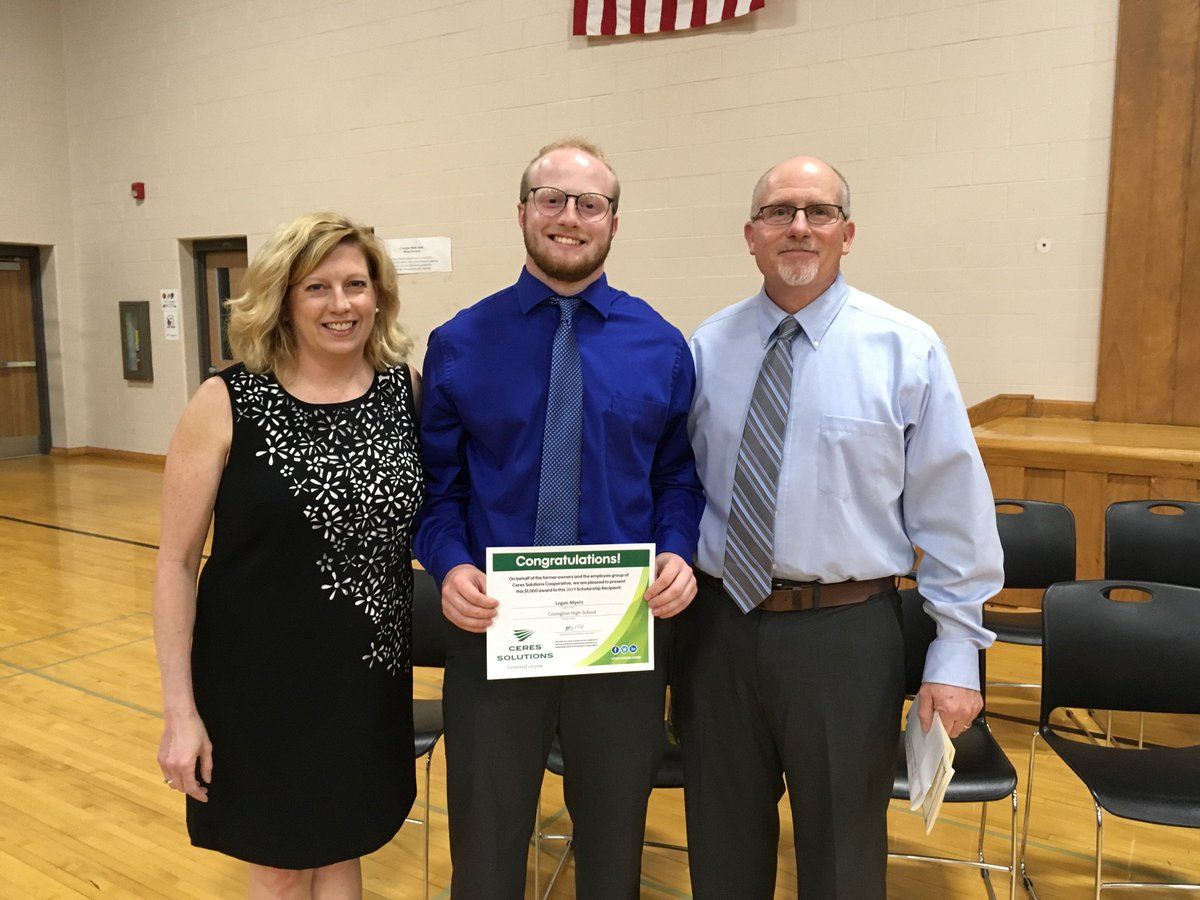 Graduation time brings scholarships...  Logan Myers and Kennidy Lauer are both pictured with their family receiving a Ceres Solutions scholarship. Scott Hilliard of our energy team presents Thaddaeus Foster at Central Nobel. Congratulations to all graduates!  #futureleaders