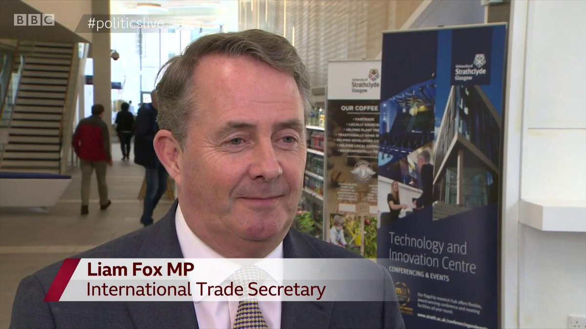 """Will Liam Fox stand for Conservative leadership?""""Stranger things have happened, but not much stranger""""#politicslive http://bbc.in/2HRIgmw"""