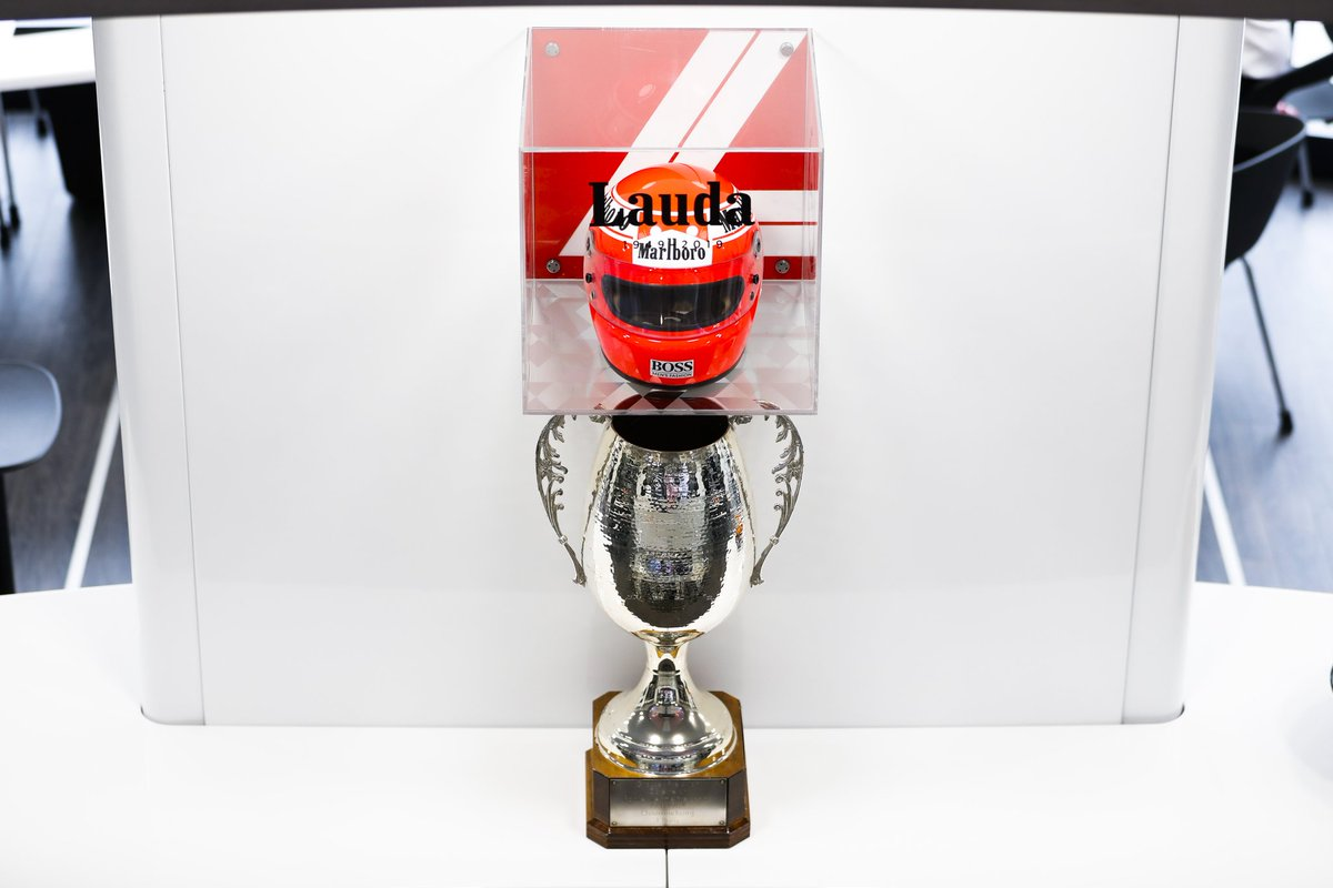Austrian Grand Prix trophy awarded to Niki Lauda in his Championship winning 1984 season. Taking pride of place with our team back at the Brand Centre.  #RIPNiki ❤️ #MonacoGP