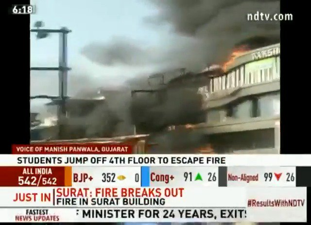 15 students dead in Surat coaching centre fire, many jumped off buildingRead here: https://www.ndtv.com/india-news/huge-fire-at-multi-storey-building-in-surat-18-fire-engines-at-the-spot-2042615…