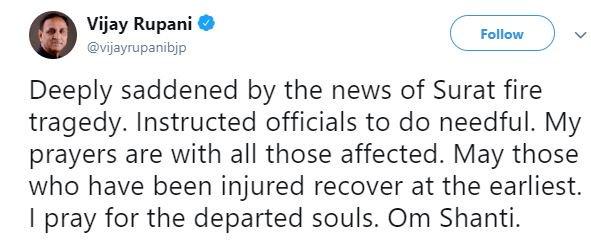 """Deeply saddened by the news of Surat fire tragedy,"" tweets Gujarat chief minister Vijay Rupani"