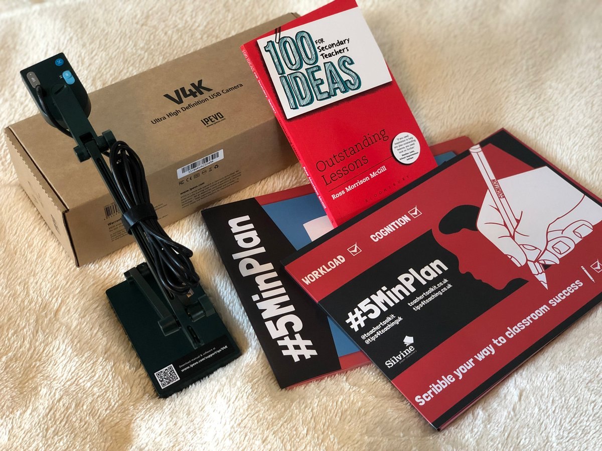 Teachers - its #HalfTerm! 🤪 I have one IPEVO (V4K Ultra HD) USB Visualiser to give away (worth £99) plus a signed copy of #100Ideas and two A4 questioning/lesson planning pads! 💥 To enter: 1. Retweet this 2. the GIF Reply to sum up this half term. GO! ⛳️ #TTkitCompetition