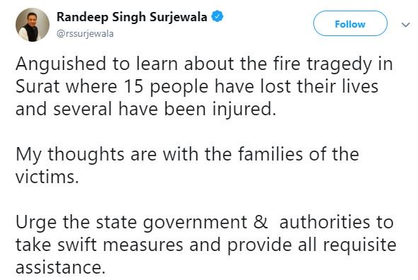 """""""Anguished to learn about the fire tragedy in Surat. Urge the state government & authorities to take swift measures and provide all requisite assistance,"""" tweets Congress' Randeep Singh Surjewala"""