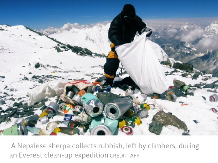Reality of 'tourism' on #Everest means Nepalese Sherpas risk their life on expeditions to clean the mountain  Huge queues to blame for multiple deaths; 200-300 mountaineers pushed for the summit at the same time.  Thoughts are with the loved ones of those lost.  Via @Telegraph