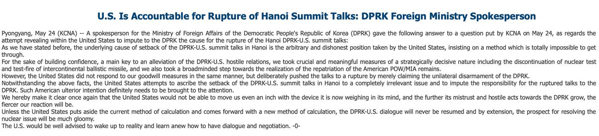"#DPRK foreign ministry blames setback following summit talks in Hanoi on ""the arbitrary and dishonest position taken by the United States, insisting on a method which is totally impossible to get through."""