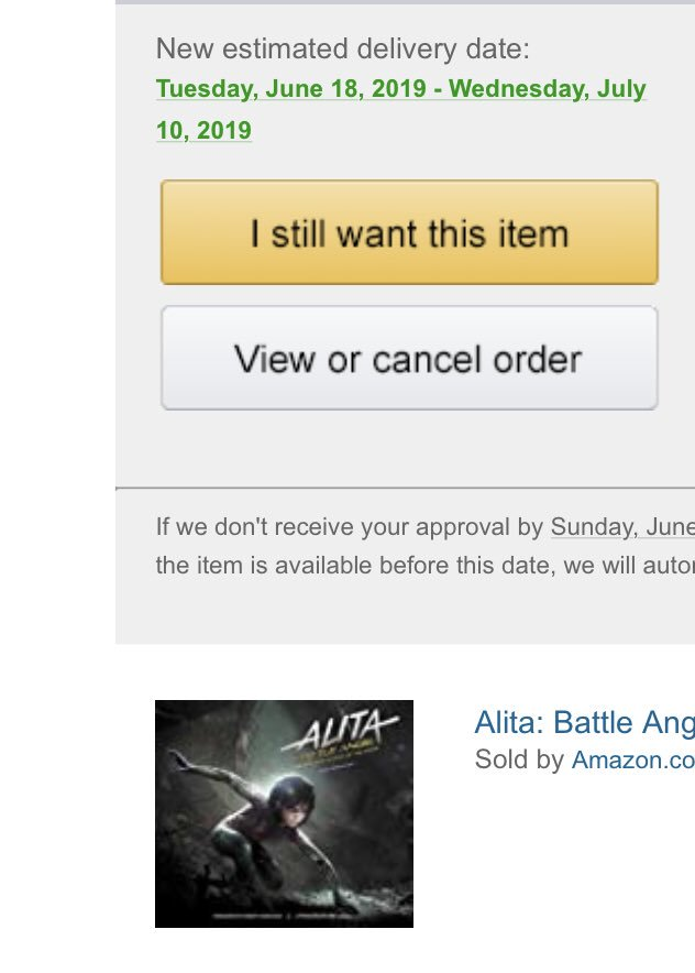 Apparently Amazon in the US still can't keep this in stock. ANOTHER delay! Keep fighting! We're winning this!  #AlitaBattleAngel<br>http://pic.twitter.com/2TeP1XEzfy