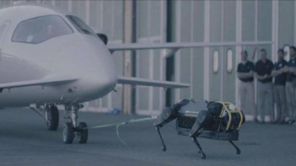 Robô-cachorro consegue movimentar sozinho avião de 3 toneladas. Veja o vídeo:  https://olhardigital.com.br/noticia/cachorro-robo-carrega-um-aviao-de-3-toneladas-sozinho-veja-o-video/86114…