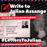 UPDATE: Visit https://t.co/BCk2W5GGwO for instructions on how to write to Julian Assange. You may include a pre-stamped envelope (with UK stamps only) if you wish to receive a reply. #LettersToJulian. Loose stamps are being rejected.