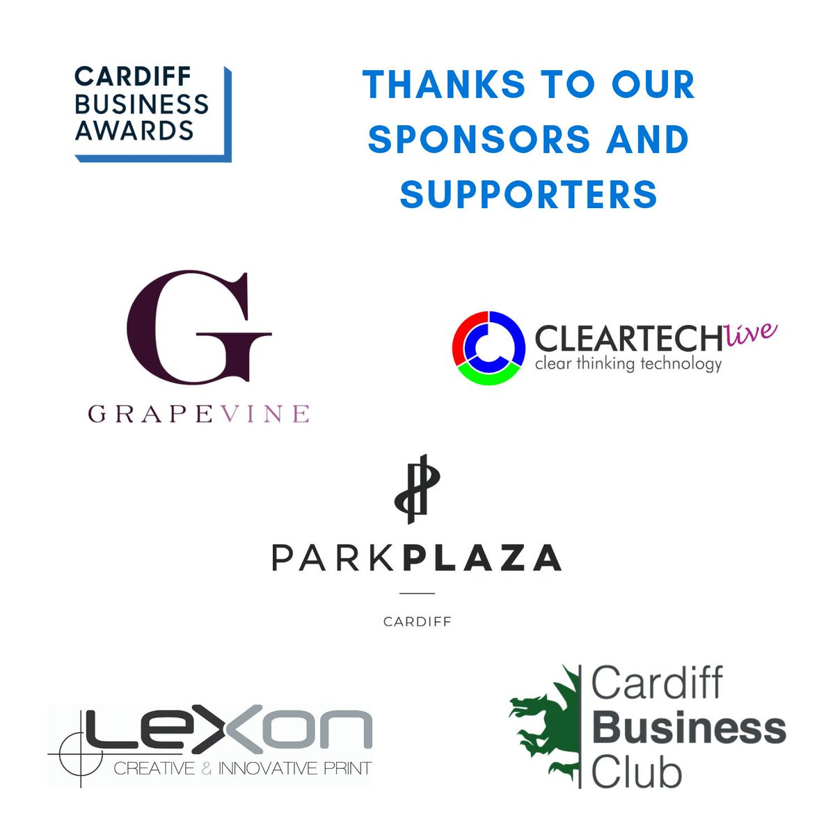 c8adb9091 To all the sponsors and suppliers of #cardiffbizawards a huge thank you!  @GrapevineEvents @cleartechlive @ParkPlazaCardif @LexonGroup  @CdfBusinessClb we ...