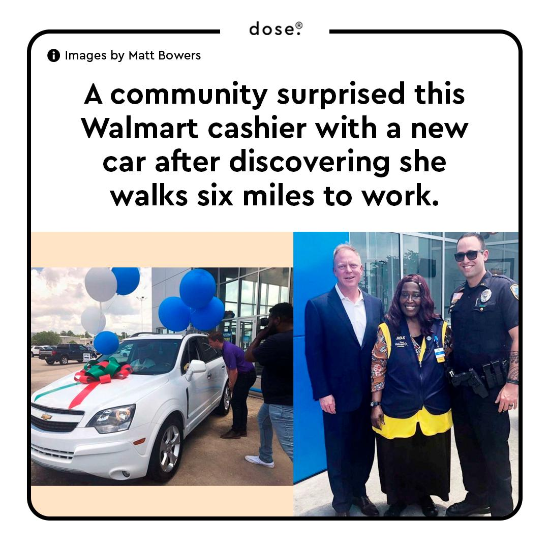 Anita Singleton was walking to work when Slidell police officer Brad Peck spotted her and offered a ride. After Peck shared her story, a local car dealership donated a car and a year's worth of insurance to her.