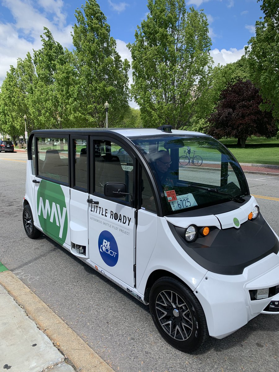 Just took a loop in one of adorable #LittleRoady #selfdriving shuttles from  @May_Mobility that Providence is piloting.  Congrats to @RIDOTNews for stepping out into the future of #transportation.   #WeTheStates