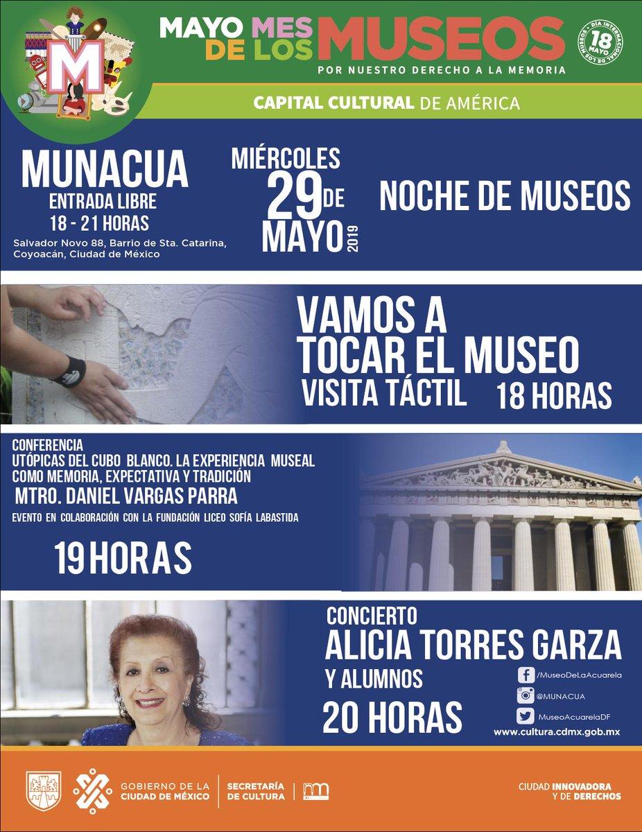 El próximo miércoles 29 de mayo, en la recta final de Mayo #MesDeLosMuseos esta es nuestra cartelera para #NocheDeMuseos ¡Te esperamos! Más información por inbox.