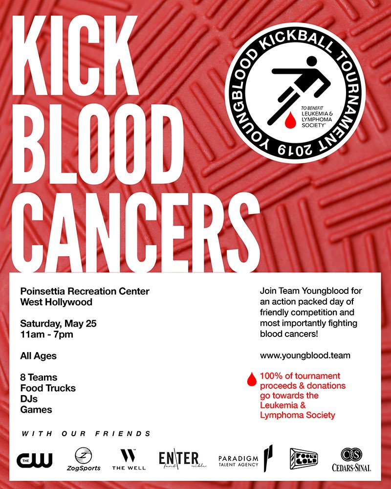 LA friends, Tomorrow 5/25 at Poinstettia Rec Center, come witness 8 teams of celebs, musicians, doctors, ent. execs, & degenerates battle it out on the kickball field in the name of fighting blood cancers!  OPEN TO THE PUBLIC. Come support ❤️