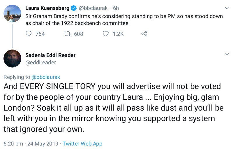 @bbclaurak and other journos getting the dogs abuse for merely reporting the news tonight. Is Eddi Reader on strong meds? #MayResignation