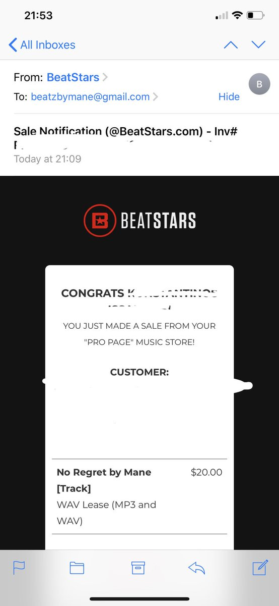 quit my job 1 month ago and just made my first sale today.   @BeatStars is such a good platform its crazy..😭