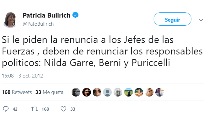 Esperamos tu renuncia, @PatoBullrich.