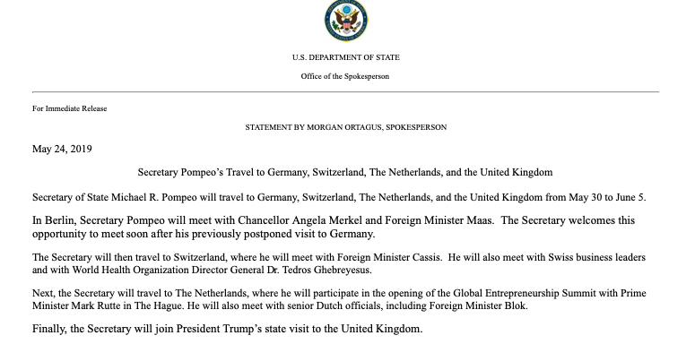 A trip will be made soon by @SecPompeo to Europe, according to @statedeptspox.