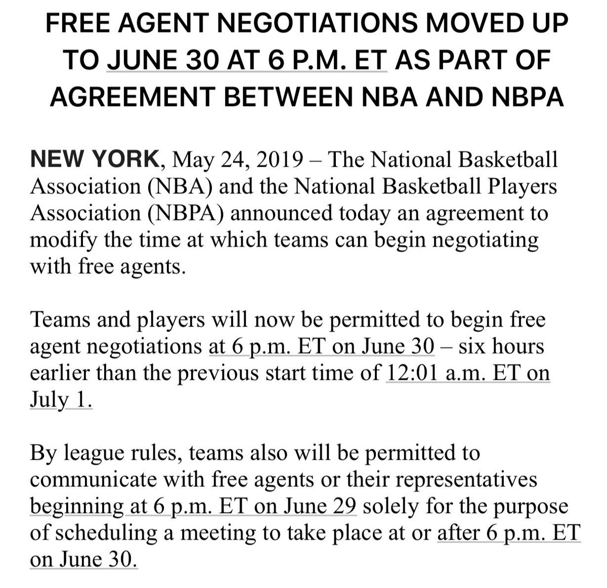 Full announcement from the league on New Free Agency ... which includes permission for teams to set up free agent meetings starting at 6 PM ET on June 29
