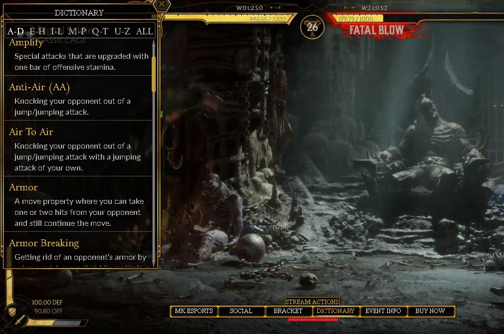 #MK11  #CB2019 #NRS You see this?! Click on dictionary and you can browse a full list of terms for the game! THIS is original thinking and pioneering. I don&#39;t know who at @NetherRealm came up with this but THANK YOU! Even if you HATE MK please give them kudos for caring!! <br>http://pic.twitter.com/NGhYbjNwJp