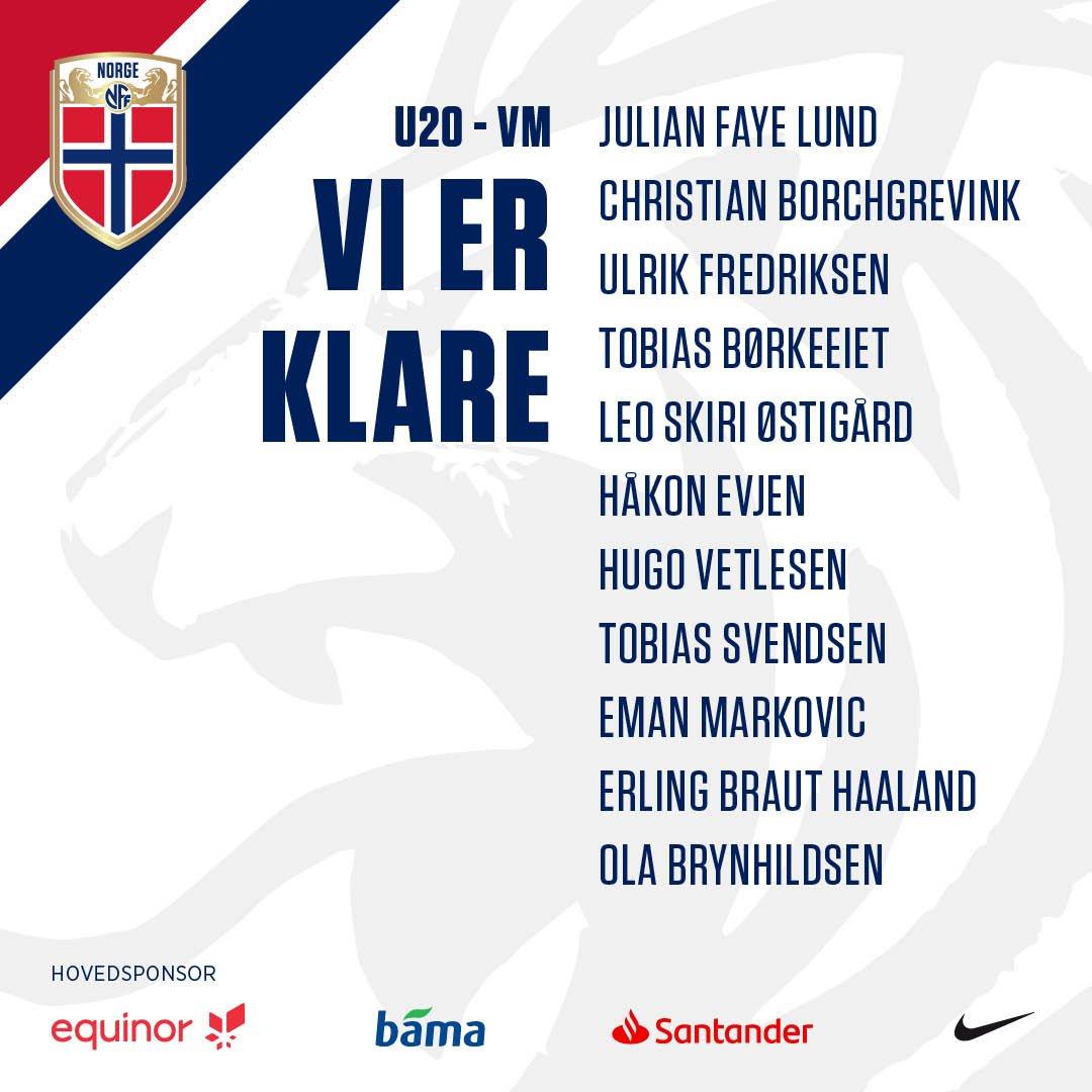 U20-landslaget stiller med følgende lag i kveldens VM-kamp mot Uruguay! Kampen ser du direkte på NRK3. Avspark kl. 20.30! #sterkeresammen #morgendagenshelter