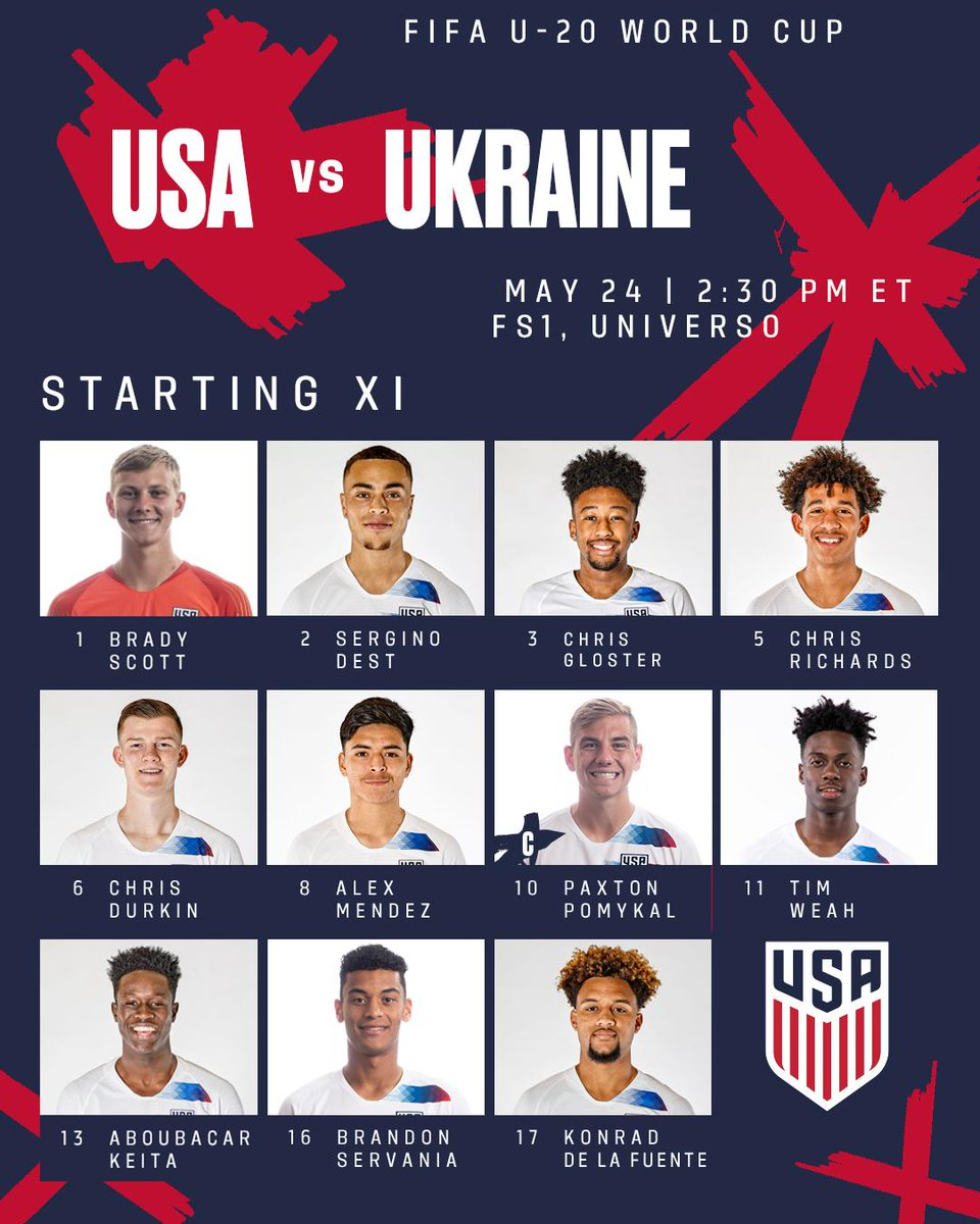 Almost that time! Your U-20 #USMNT starting XI vs.  in the #U20WC