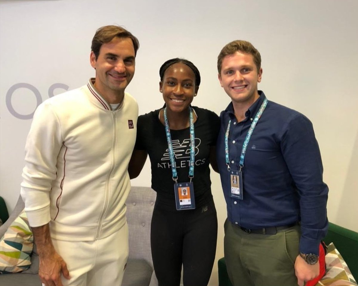 Coco Gauff, Roger Federer and Alessandro Sant'Albano  - From Coco&#39;s IG story <br>http://pic.twitter.com/w4bT73eCcr