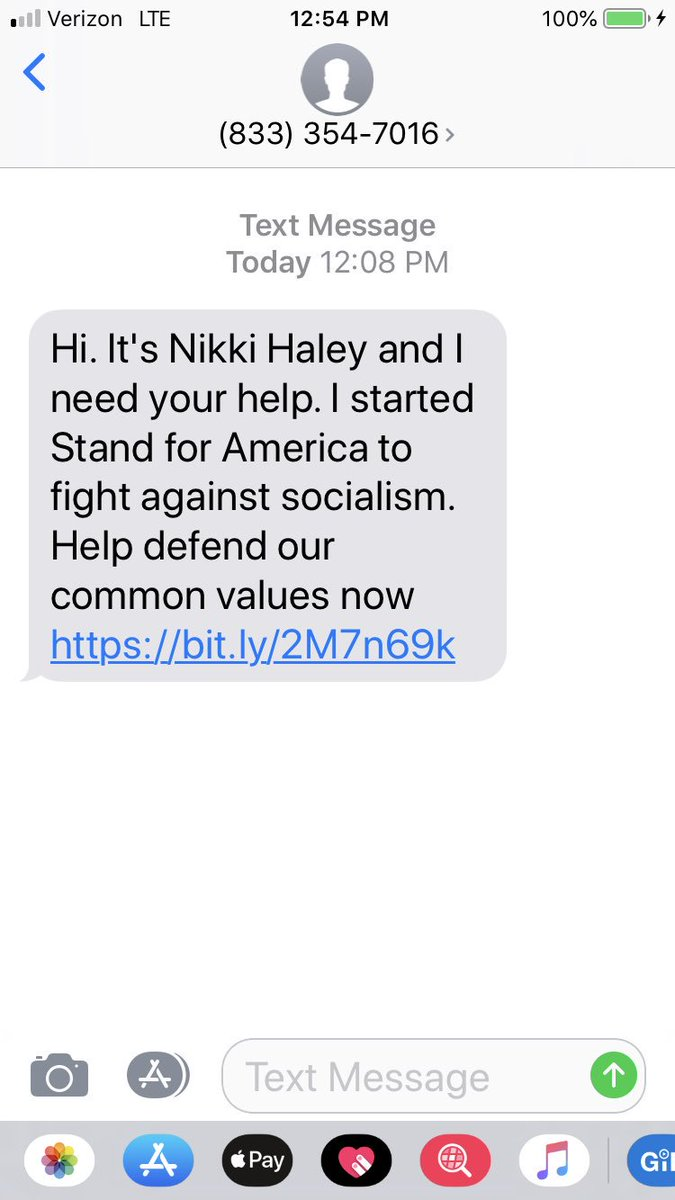 I love @NikkiHaley, but how did she get my number to send me this text?! <br>http://pic.twitter.com/gqlALX7uI7