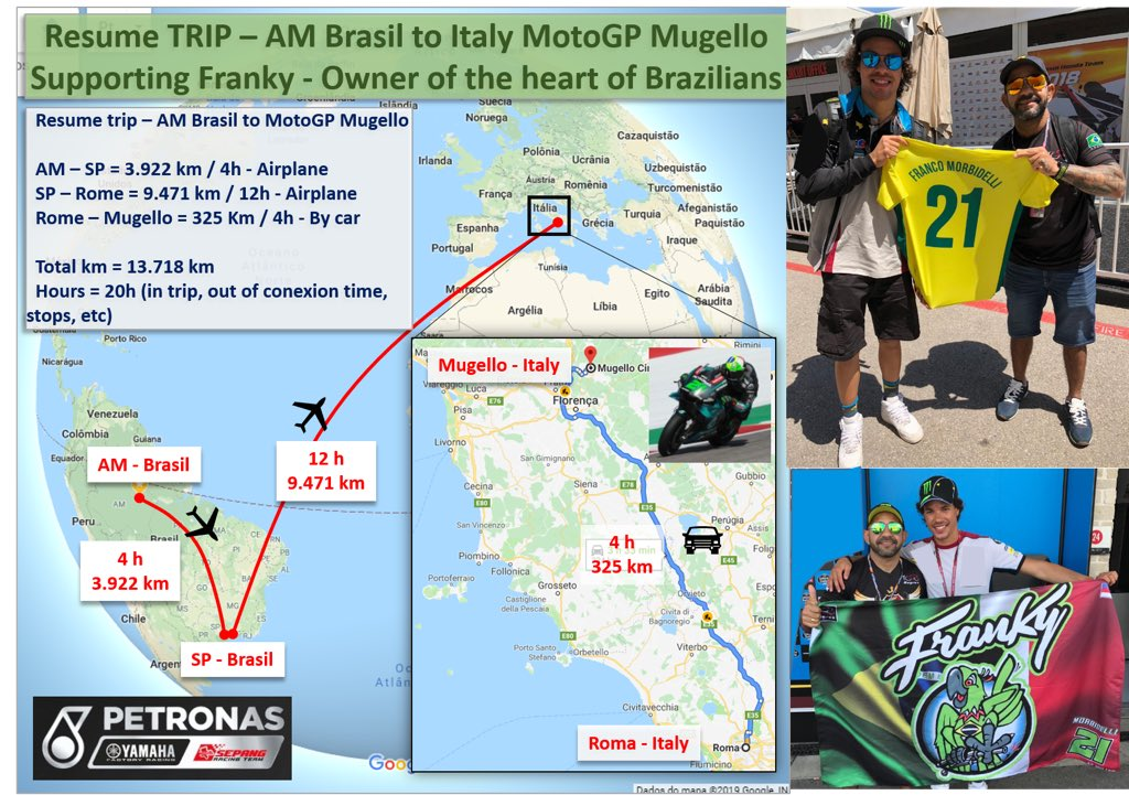 Years of saving money, I will cross the ocean to honor the one who carries the heart of the Brazilians with him!  we'll be in the crowd for a Franky 21 win !  #PETRONASYamahaSRT @MotoGP #SepangRacingTeam #PETRONASMOTORSPORTS #MotoGP