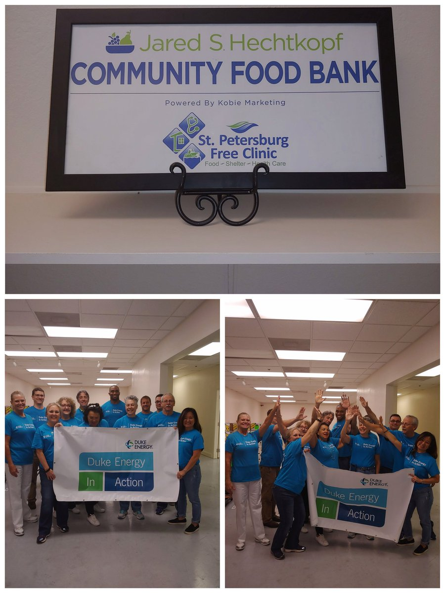 WOW, @DukeEnergy volunteers sorted two & a half #tons or #five thousand pounds of food for the @SPFreeClinic. Great job, & thank you all for giving back! #WeAreDE