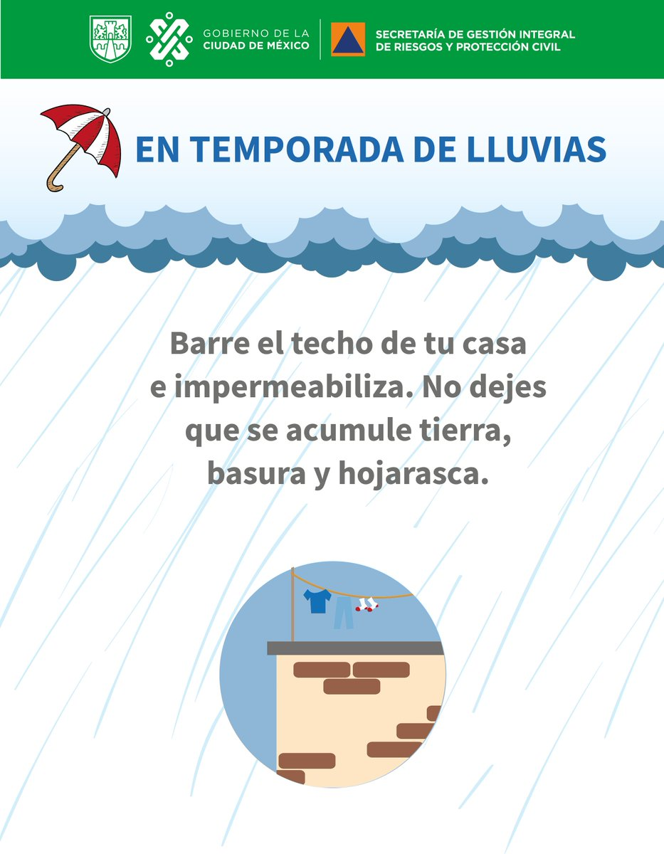 En esta época de lluvias sigue nuestras recomendaciones #LaPrevenciónEsNuestraFuerza #TrabajamosJuntos