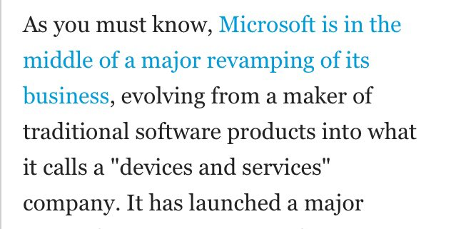 """Stumbled on this Microsoft paragraph from 2013, the transfer to a """"services"""" business led to a 500% stock gain and a P/E of almost 30. Isn't that what Apple is doing? $MSFT $AAPL<br>http://pic.twitter.com/6LgP9Fp4HG"""