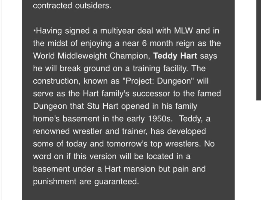 I think it's wonderful for Teddy Hart to carry his Grandpa's legacy by getting a training facility and name it in honor of him. #MLWFusion